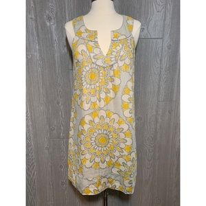 LOFT Yellow & Gray Linen Dress Sundress 2